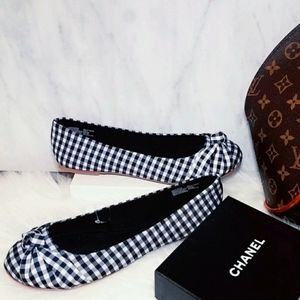 New Shoes Ballet Flats Black White Plaid Shoes 8.5